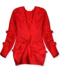 6dbbab5cef2d Butikovo Fuchsiový pletený sveter so zaväzovaním. Detail produktu. Butikovo  Červený sveter s brmbolcami