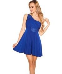 Modré Večerné Krátke Šaty - Glami.sk 053b3f2199
