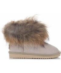 Vera Pelle Kožené Dámské boty sněhule béžové 884d4c0b26