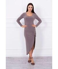 MladaModa Asymetrické šaty s ľavým výkrojom a šnurovaním na boku farba  cappuccino c4c72d2b999