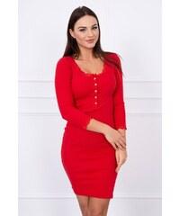 34d8a13884a7 MladaModa Šaty s gombíkmi v dekolte a čipkou na okrajoch červené