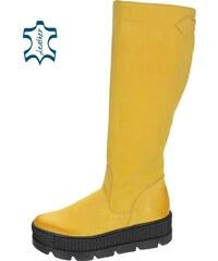 6aa53575d OLIVIA SHOES Žlté extravagantné čižmy na vysokej podošve DCI3019