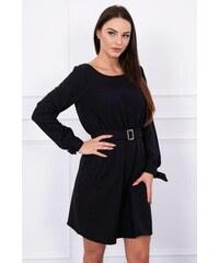 8f4139f20541 MladaModa Voľné šaty s remienkom v páse a s vreckami čierne