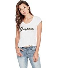 GUESS tričko Liza Threaded Logo Tee biele 5d9445c487b
