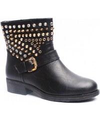 Claudia Ghizzani Dámské černé boty nad kotník se cvočky Timeless