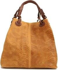 37f5e06aa2 TALIANSKE Talianska dámska veľká kožená kabelka medovo hnedá Vanda k  denimu