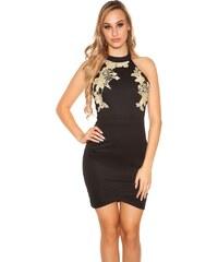 Glara Krátké černé šaty s hadím vzorem - Glami.cz ca2947d85f
