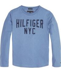 TOMMY HILFIGER Tričko  ESSENTIAL LOGO TEE L S  nebeská modř   černá b6a74b60d2