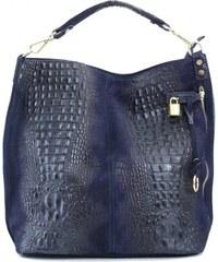 509500f3ee0e TALIANSKE XL Talianska shopperka kožená kabelka veľká na plece tmavomodrá  Valika