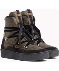Tommy Hilfiger khaki kožené topánky Cozy Warmlined Leath s kožušinkou 2f01c77e32b