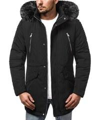 Trendy pánska zimná bunda čierna OZONEE O 88859 b54ba40b134