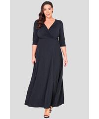 Bellazu GB Dlouhé šaty Peak s hlubokým výstřihem černé 57f66d94e6