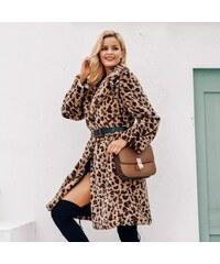 5cc839d9f312 Perfect luxusní leopardí dlouhý kabát kožich s výstřihem umělá kožešina