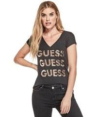 ba24953594 GUESS tričko Dolly Reversible Sequin Logo Tee černé