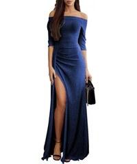 Trendy glitrové maxi dlhé modré šaty LC610934-5 1ca1b711aec