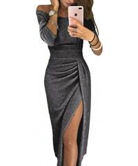 d481330dbd60 Krátke metalické tulip čierne šaty LC610566-2