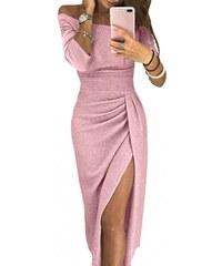 179a78fbd9dc Krátke metalické tulip ružové šaty LC610566-10