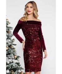 e20395b3e4 StarShinerS Burgundy Artista alkalmi bársony flitteres ruha szűk szabás