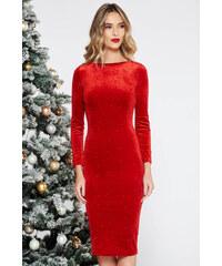 StarShinerS Piros Artista alkalmi midi bársony ruha szűk szabás gyöngyös  díszítés 4623395a55