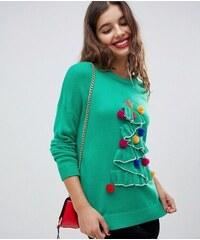 Bravesoul Dámský vánoční svetr Brave Soul 3D Zelený 68c9fe7000