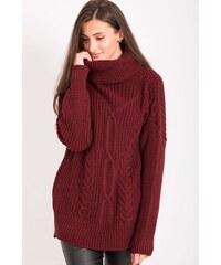 BUfashion Vínový pletený svetr ec1cf2038a