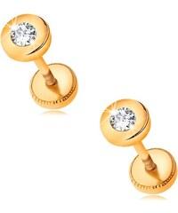 Šperky eshop - Zlaté náušnice 585 - lesklý kruh so vsadeným brúseným zirkónom  čírej farby GG188 4cc9f576df3