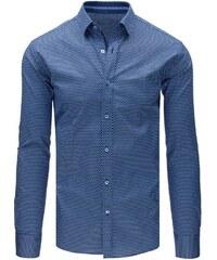 01bbeef259 Modrá elegantná pánska košeľa so vzorom