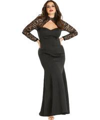 NoName Dámské společenské šaty pro plnoštíhlé s krajkovými rukávy XL 0e0f4ab013