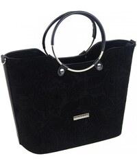 Čierna semišová dámska kabelka s motívom kvetín S745 GROSSO. 47 ... 93a226a67bf