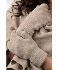 Tmavobéžové dámske rukavice na zimu Kamea 01 7e8a4ac4f3