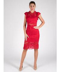Moda Elegantné čipkované červené šaty db88843ab1