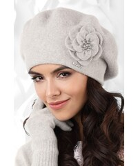 71989af6a Šedá luxusná elegantná dámska baretka na zimu s kvetom Kamea Vicenza