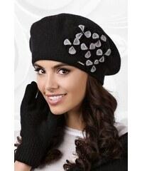 29a20a1a0 Čierna luxusná elegantná dámska zimná baretka s kvietkami Kamea Gorycja
