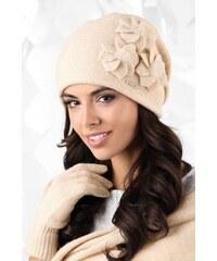 81ed49963 Béžová luxusná dámska elegantná čiapka na zimu so štýlovými kvetmi Kamea  Teramo