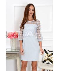 9602665eccaf PLANETA-MODY Sivé šaty s krajkovaným bolerkom Delila CO-37566
