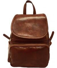 Kožený batoh s klopou 222 hnědý b7c3c72506