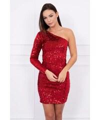 MladaModa Asymetrické šaty na jedno rameno s flitrami červené 5bef1c2d933