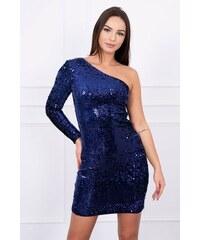MladaModa Asymetrické šaty na jedno rameno s flitrami farba námornícka modrá f777fc4ba9f