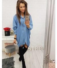 BASIC Modré košeľové šaty (dy0166) 2633e1ef43