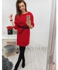 BASIC Červené pletené šaty Vanessa (ey0548) 4589618c78