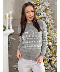 8d457f92c755 MODANOEMI Dámsky sivý vianočný sveter SD2018S