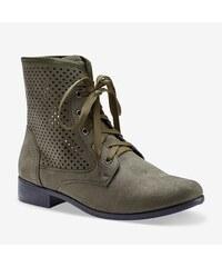 Blancheporte Perforované šnurovacie členkové topánky khaki 9ab1c01307d