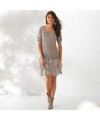 Blancheporte Volánové šaty s výšivkou hnědošedá 585e0483a3