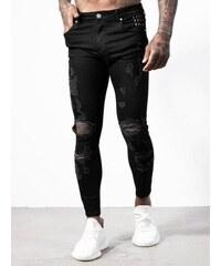 ALIVE Džíny Black Ripped Denim Shredded Jeans černá ee0cae7968