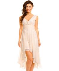 Dámské společenské šaty MAYAADI šifonové s asymetrickou sukní krémové 2ab6af45a5