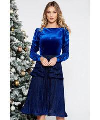 0f3cff3d26 Kék StarShinerS alkalmi bársony ruha fényes anyag belső béléssel derekán  fodros