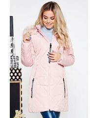 StarShinerS Világos rózsaszín SunShine casual vízhatlan dzseki  bundabélessel ellátva egyenes szabás szőrmés kapucni zsebes 692161bdac