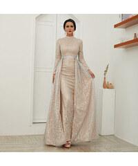 Perfect Lesklé maxi dlouhé šaty s plášťem 716307f9b5a