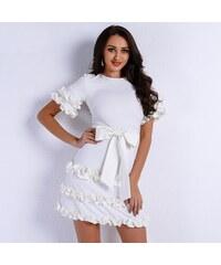 Perfect Neodolatelné jarní a letní krátké šaty s volánky a mašlí d505b11336