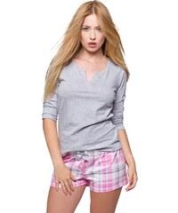 50b4ff358835 Sensis Dámske bavlnené krátke pyžamo Samanta šedo ružové káro